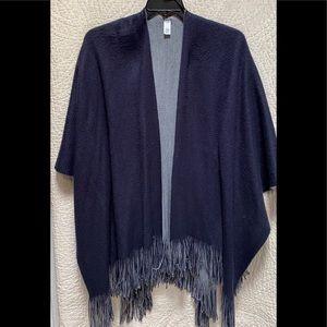 Blue and gray reversible poncho/ shrug